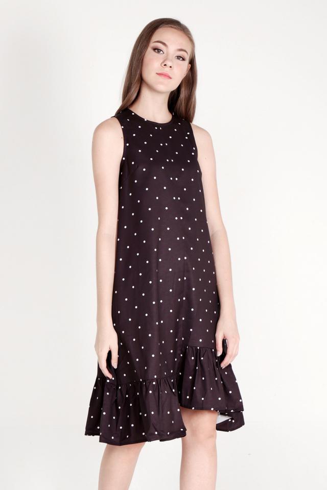 Delana High Low Polka Dot Midi Dress (Black)