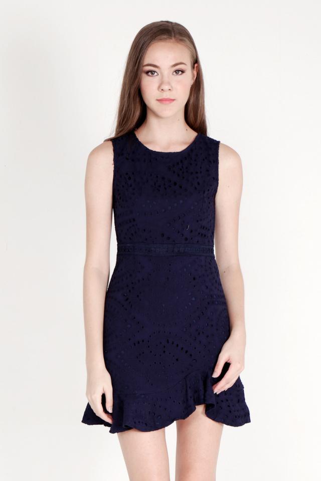 Kathe Eyelet Flutter Hem Dress (Navy Blue)