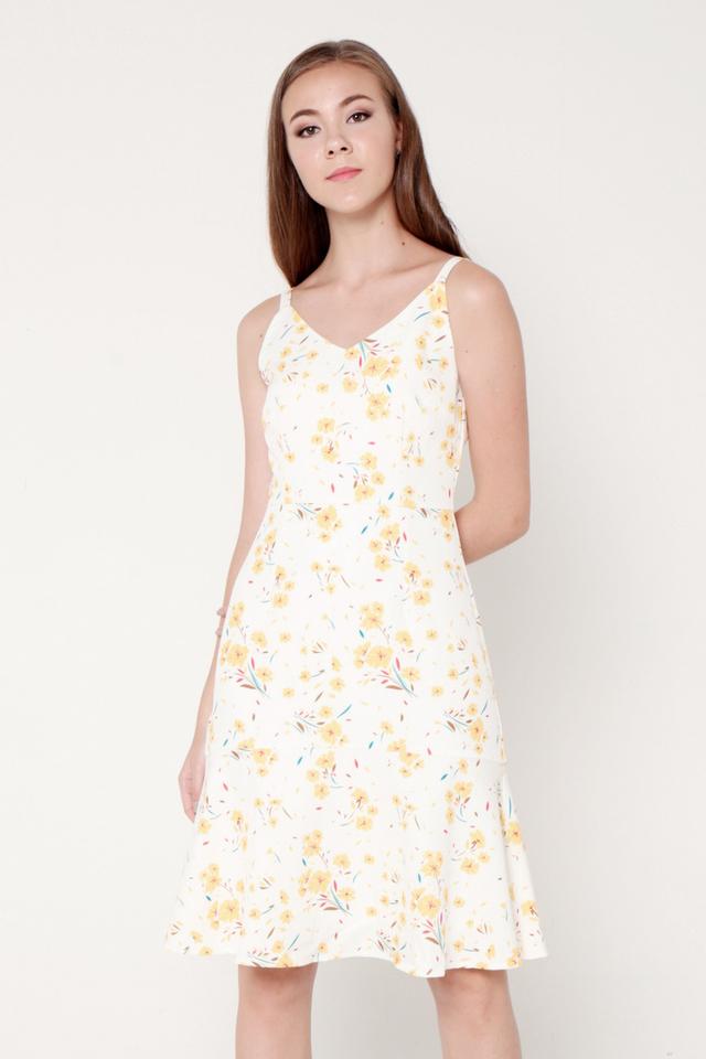 Nelly Spaghetti Flutter Hem Dress (Yellow)