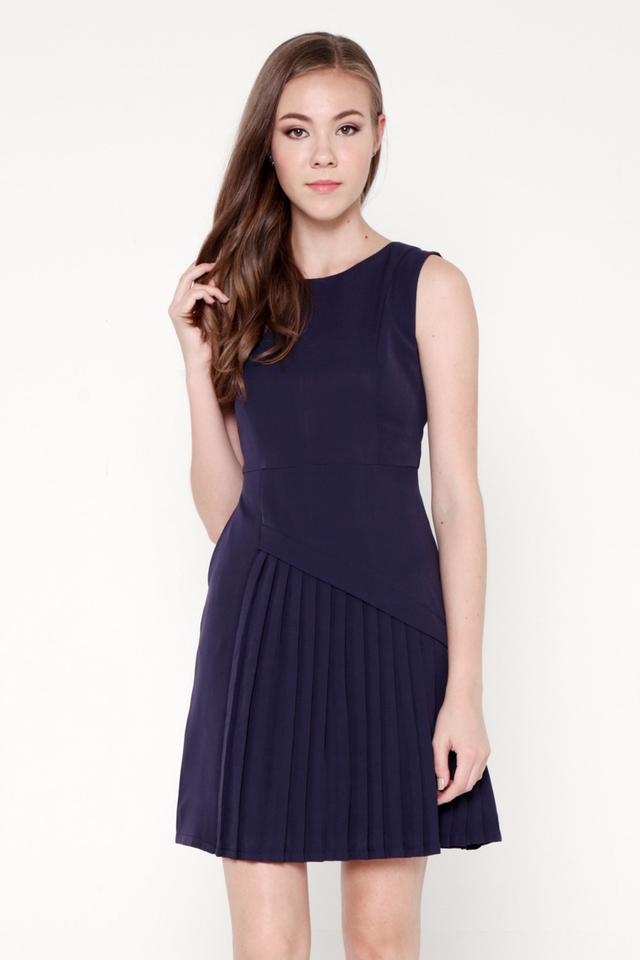 Guerin Side Pleat Dress (Navy Blue)