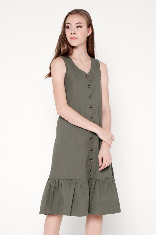 Cherie Linen Mermaid Dress (Olive)