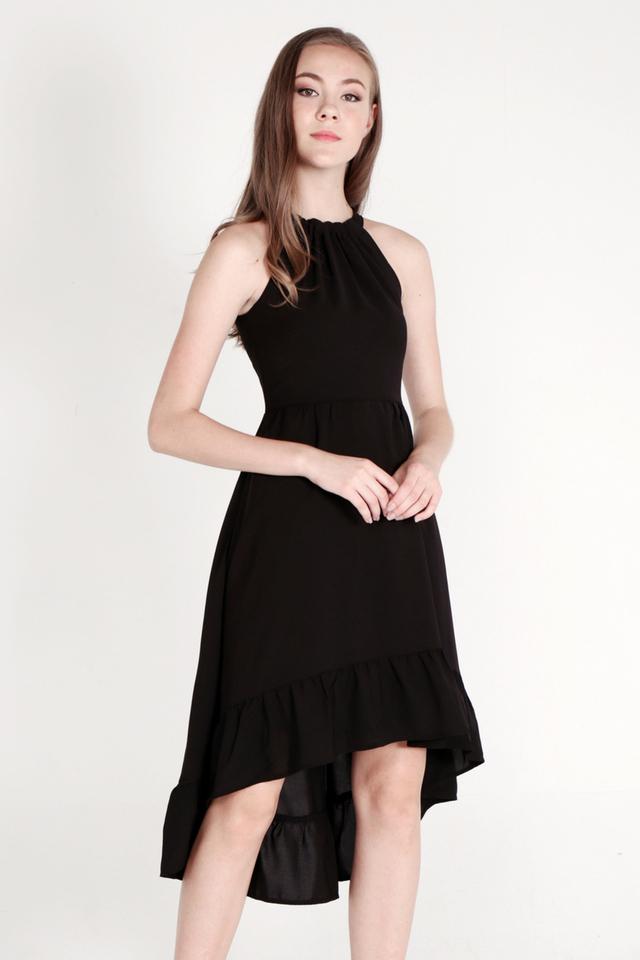 Haydee Halter Neck Fishtail Dress (Black)