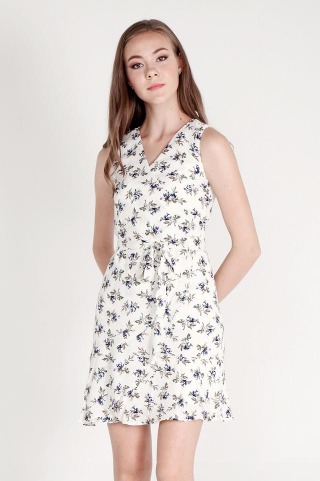 Kimble Floral Wrap Dress (Cream)
