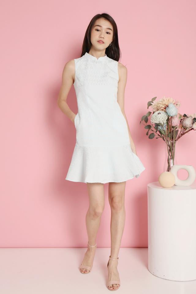 Mignon Embossed Cheongsam Dress (Mint)