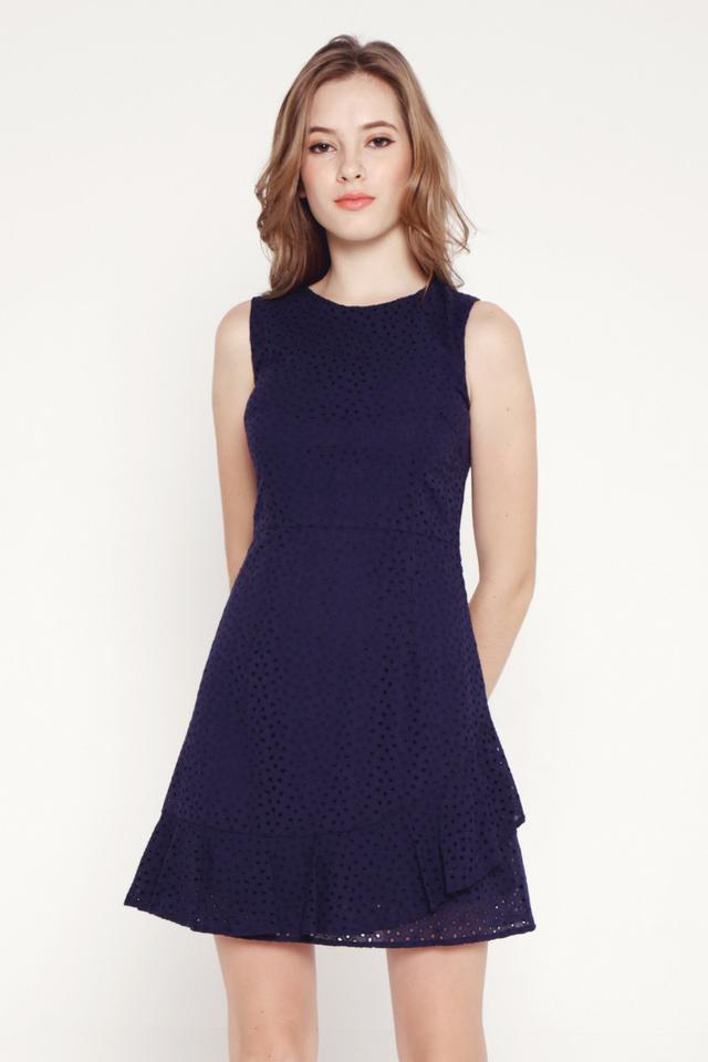 Larson Eyelet Flutter Hem Dress (Navy Blue)