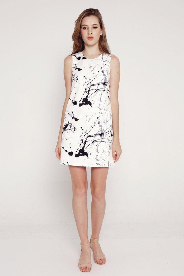 Catrina Splash Paint Pocket Shift Dress (Black)