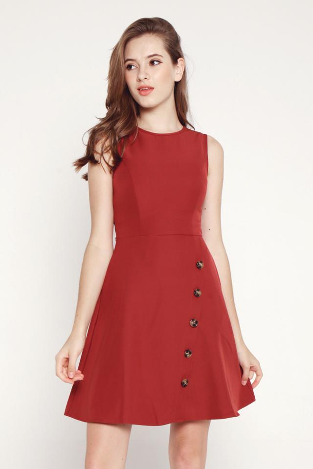 Roxanna Slant Button Dress (Tea Rose)