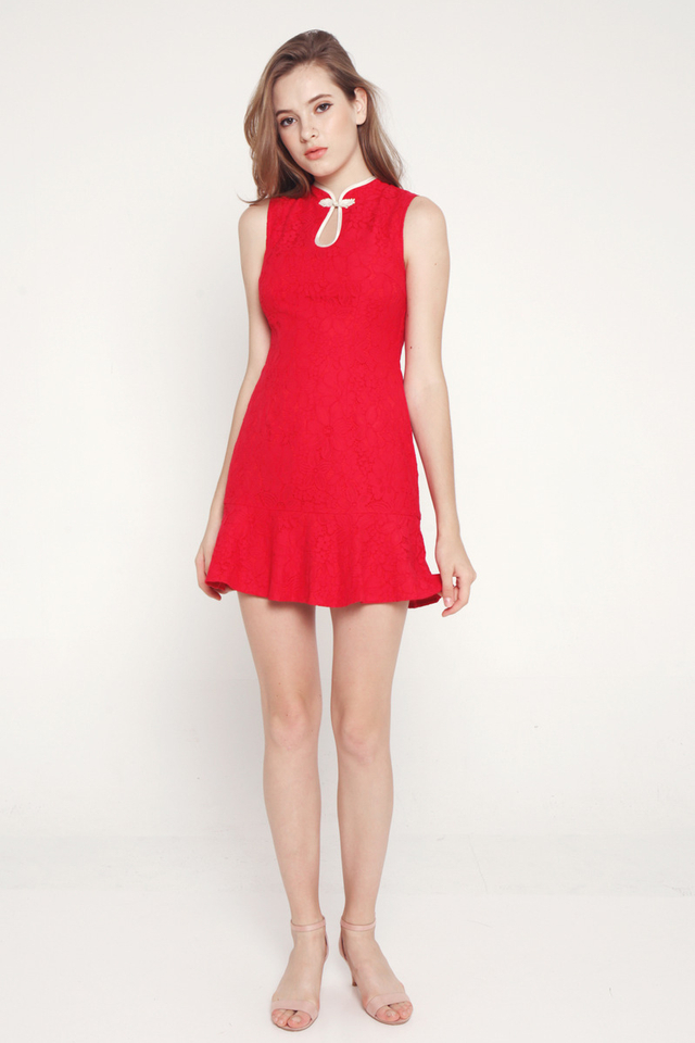 Malissa Cheongsam Romper (Red)