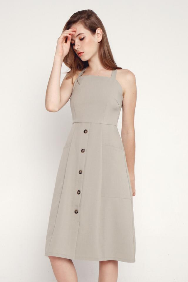 Idella faux Button Cross Back Dress (Green)