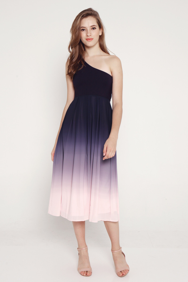Valencia Toga Midi Dress (Blue/Pink)