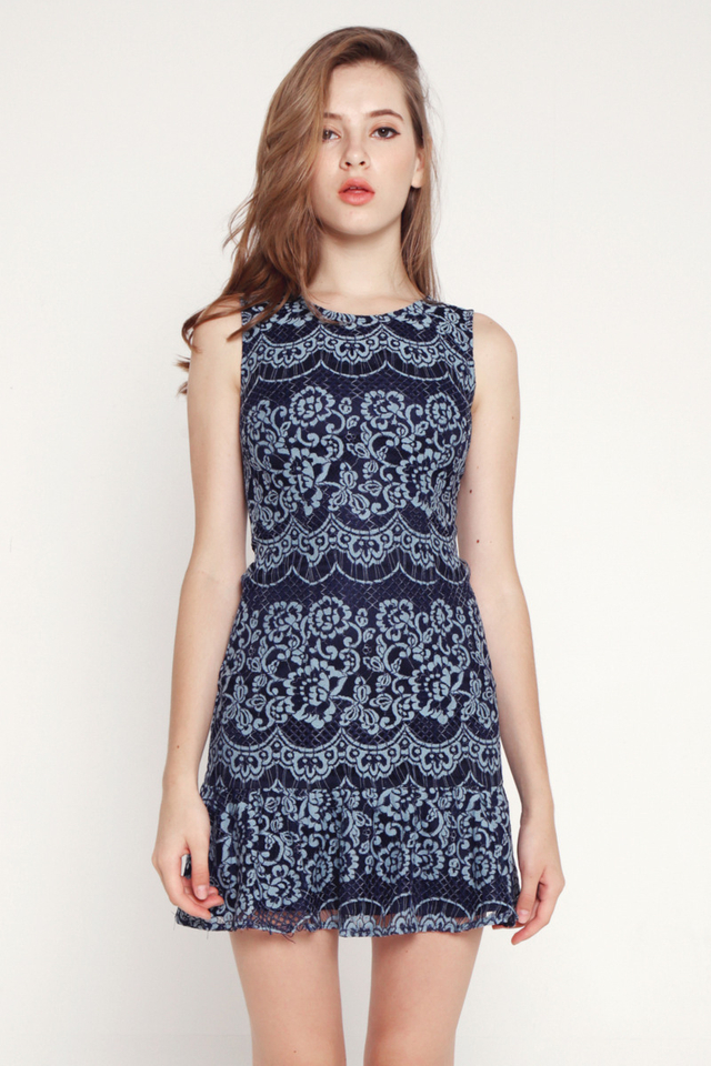 Iraida Lace Flutter Hem Dress (Dark Blue)