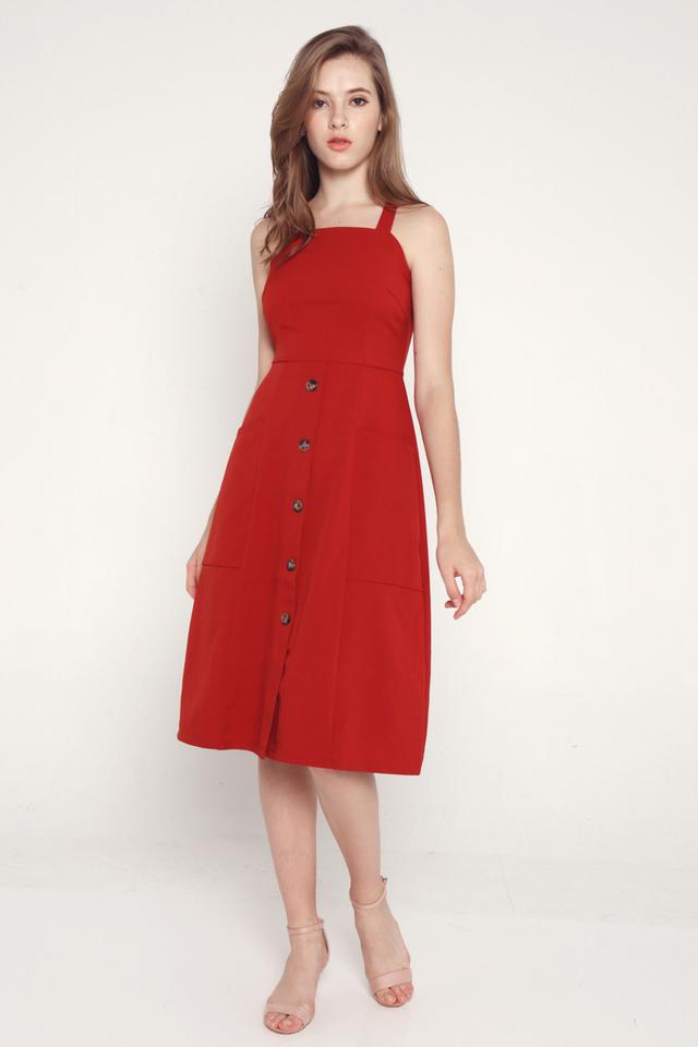 Idella faux Button Cross Back Dress (Red)