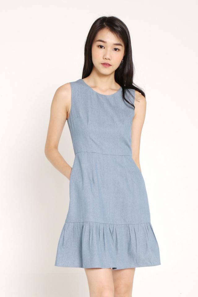 Danille Flutter Hem Dress (Light Blue)
