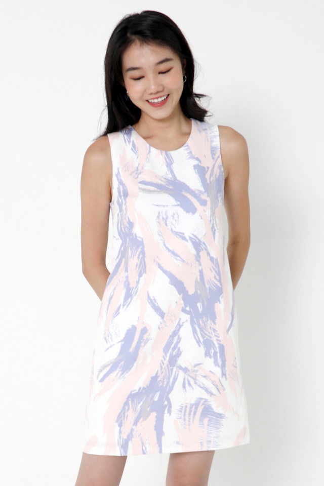 Ellena Abstract Shift Dress (White/Pink)