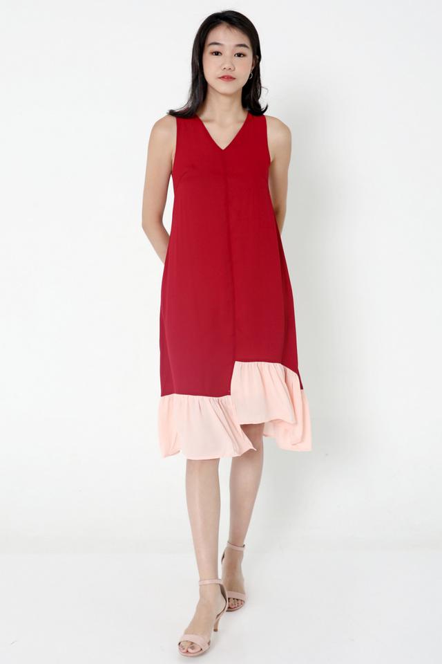 Janyce Colourblock Midi Dress (Wine)