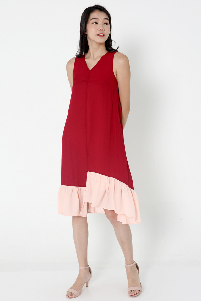 Janyce Colourblock Midi Dress (Wine)