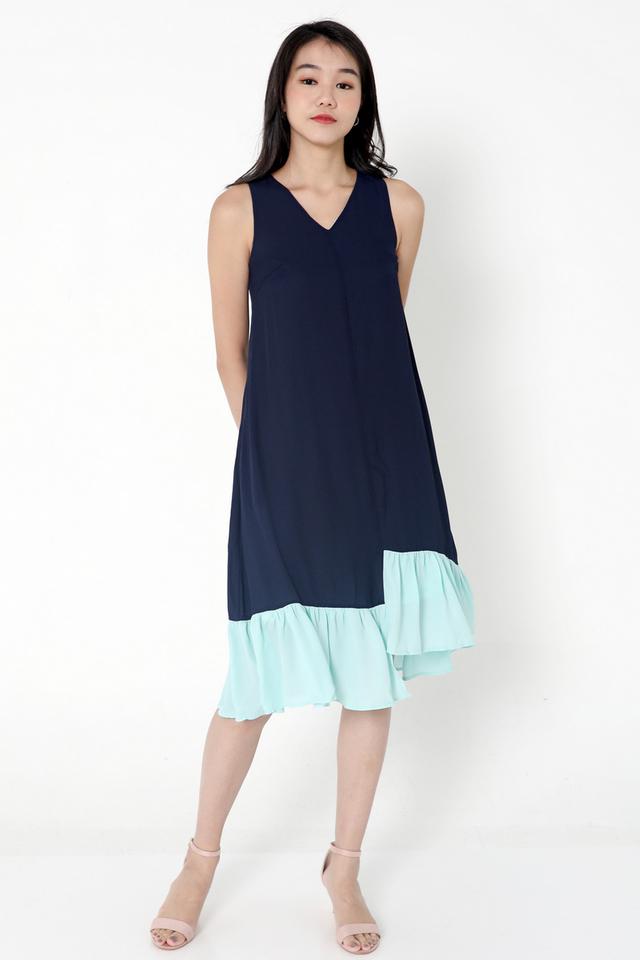 Janyce Colourblock Midi Dress (Blue)