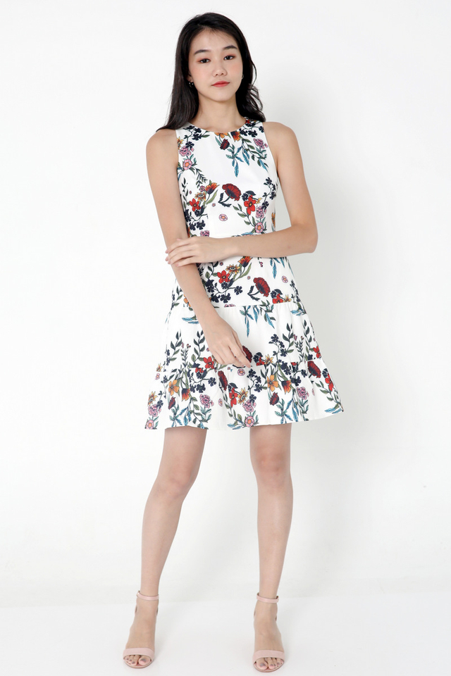 Ahern Floral Tier Dress (White)