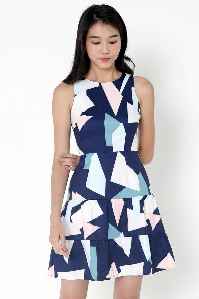 Everhart Abstract Tier Dress (Blue)