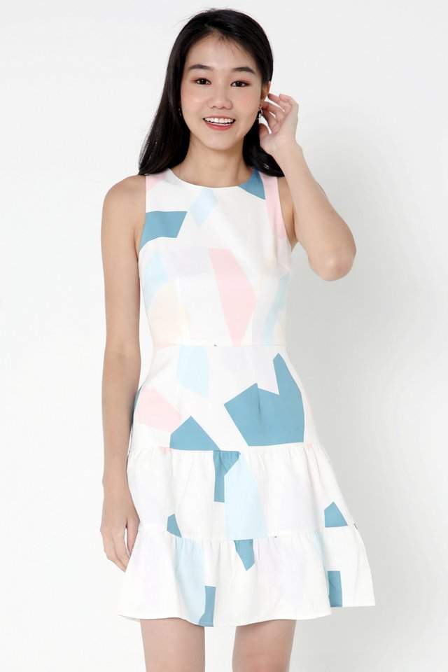 Everhart Abstract Tier Dress (White)