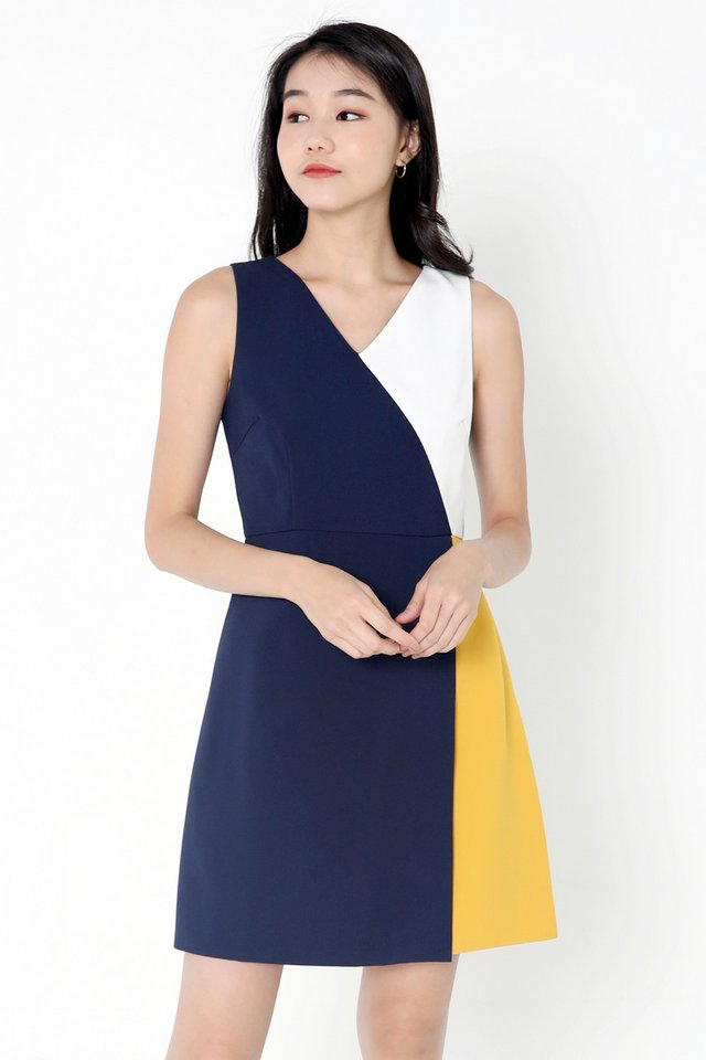 Lyn Colourblock Work Dress (Navy Blue)