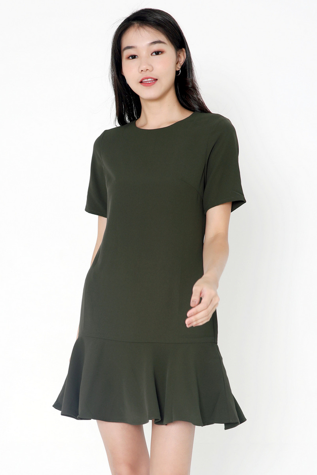Simone Sleeved Dropwaist Dress (Army Green)