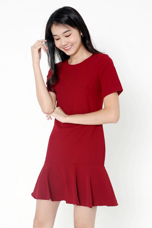 Simone Sleeved Dropwaist Dress (Deep Red)