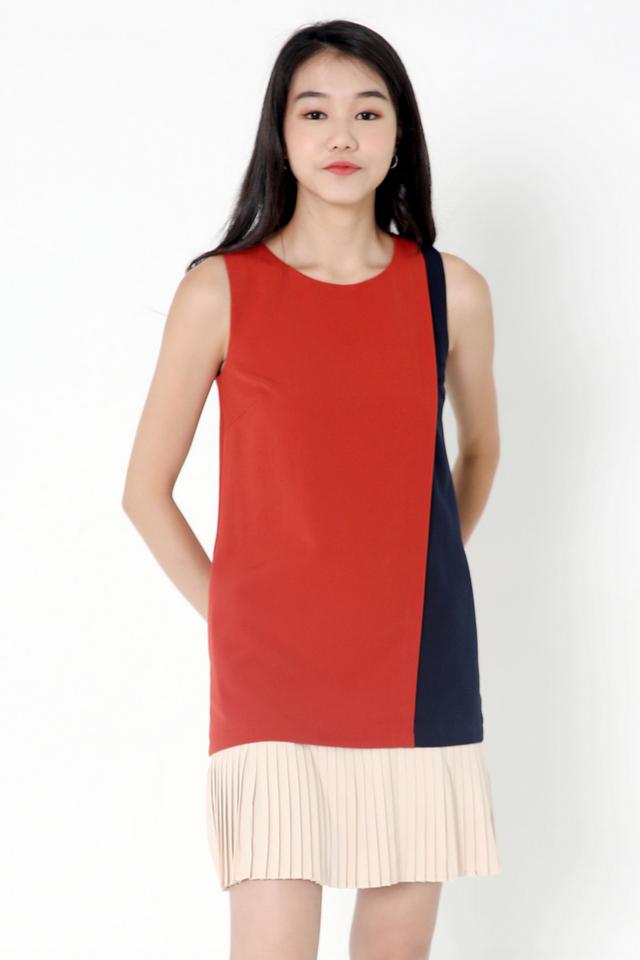 Chantelle Colourblock Pleat Dress (Terracota)