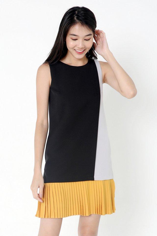 Chantelle Colourblock Pleat Dress (Black)