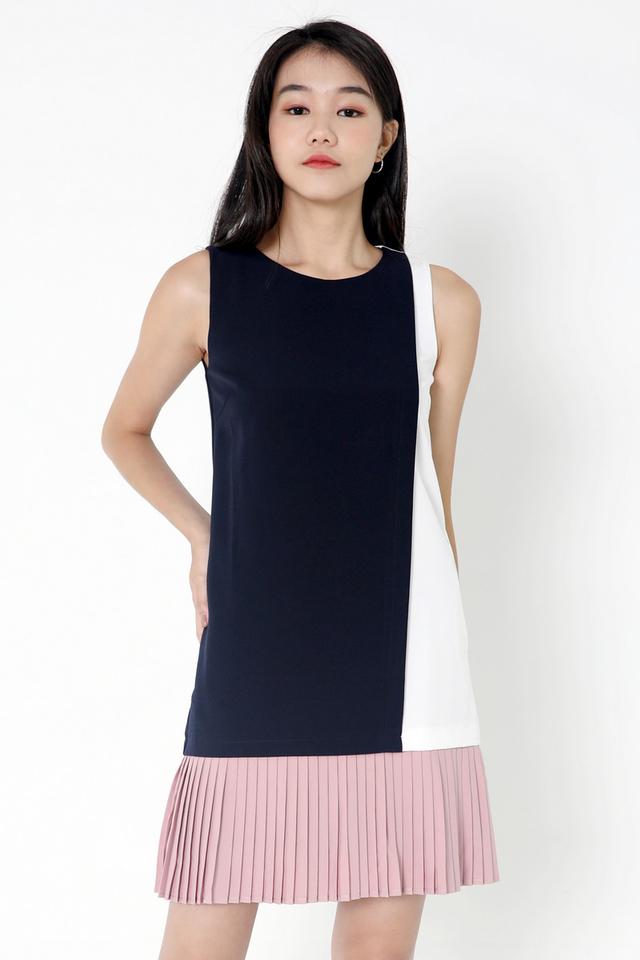 Chantelle Colourblock Pleat Dress (Navy Blue)