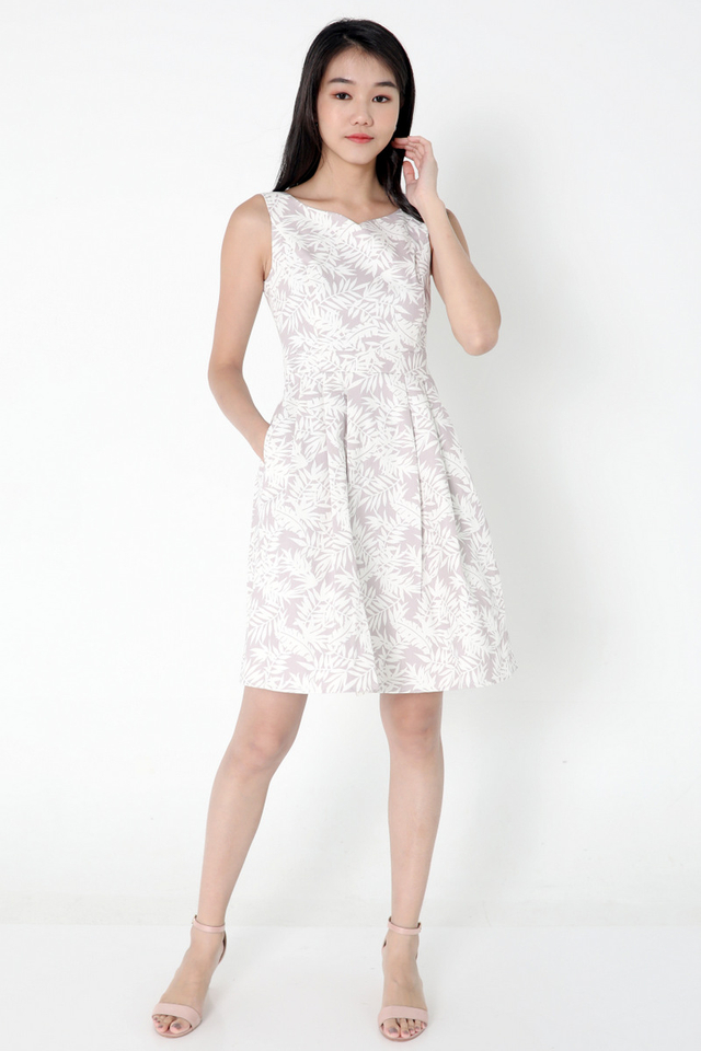 Delila Floral Fit and Flare Dress (Lilac)