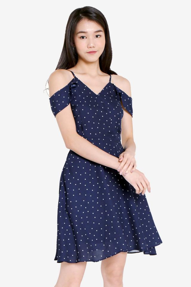 PO: Madsen Polka Dot Dress (Navy Blue)
