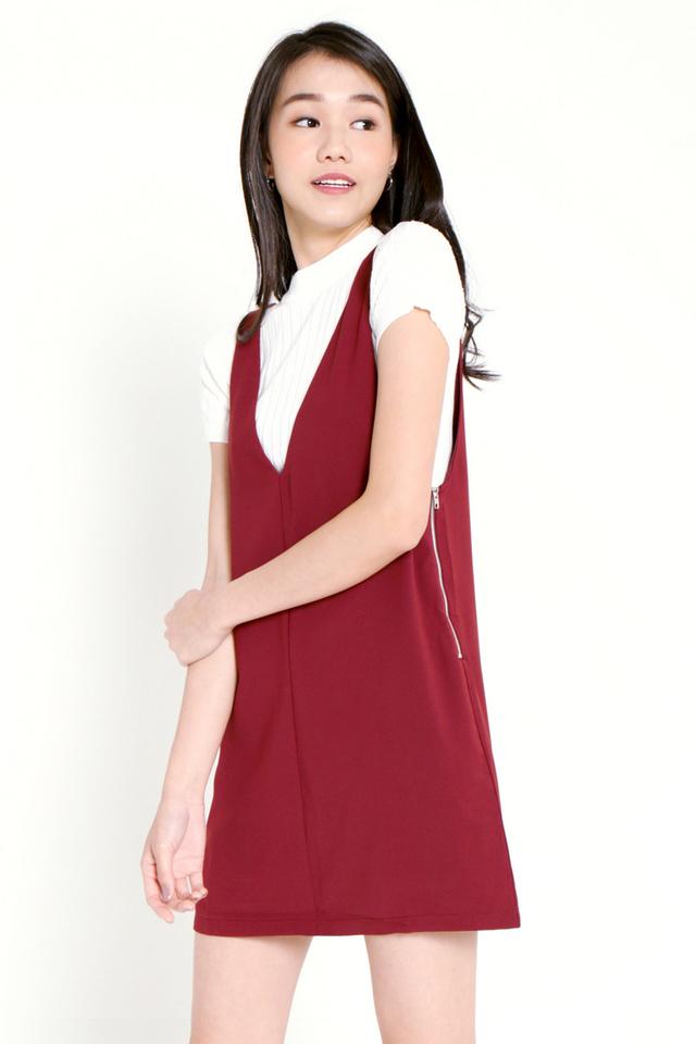PO: Evia V-neck Pinafore Dress Set (Wine)