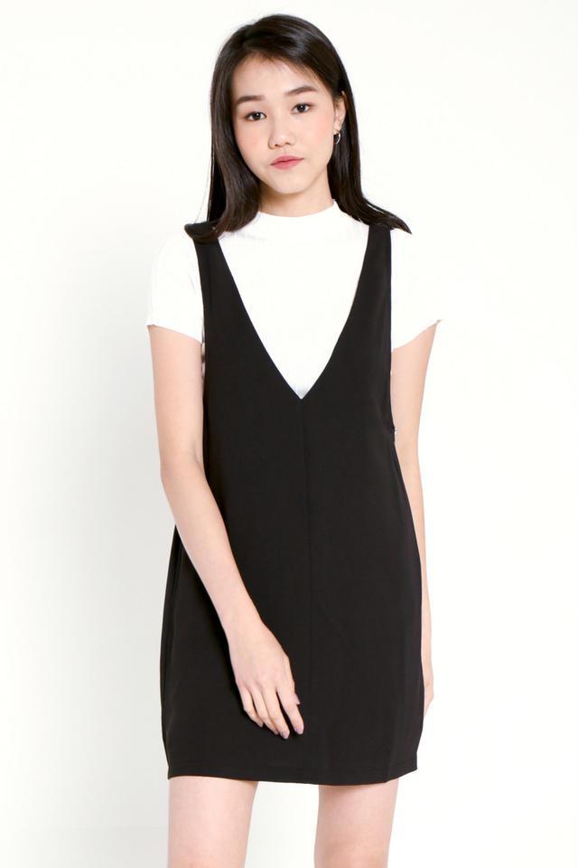PO: Evia V-neck Pinafore Dress Set (Black)