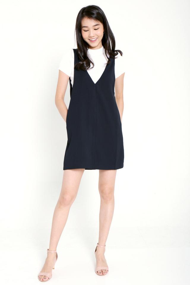 PO: Evia V-neck Pinafore Dress Set (Midnight Blue)