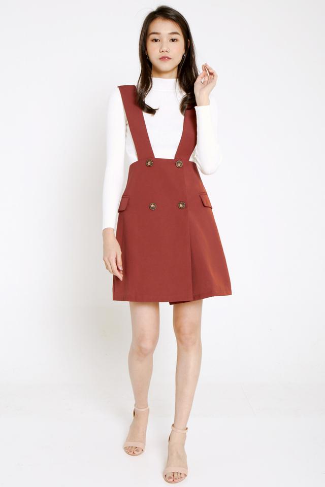 PO: Stephie Button Pinafore Dress Set (Brick Red)
