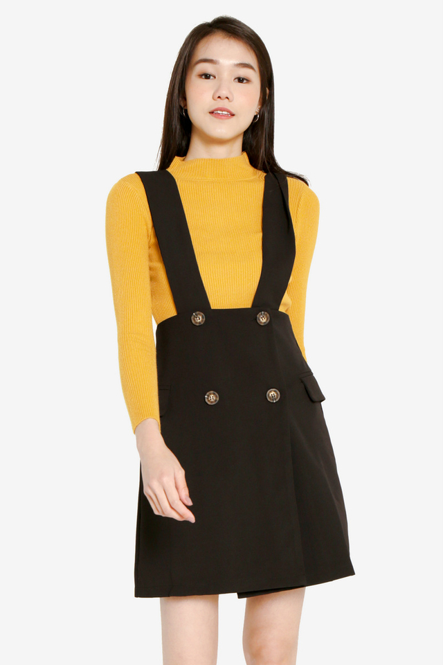 PO: Stephie Button Pinafore Dress Set (Black)