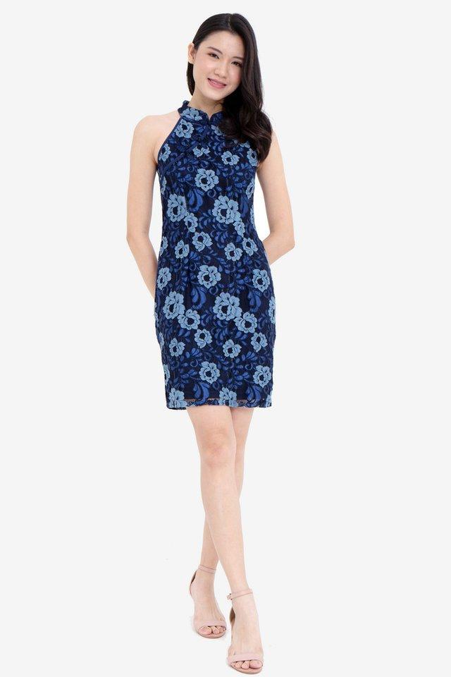 Hammett Dual Tone Lace Cheongsam Dress (Navy Blue)