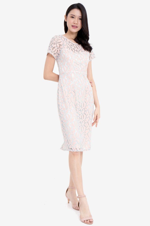 Bianca Sleeved Lace Dress (Pink)