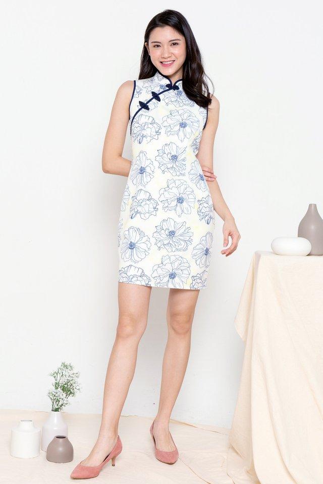 Senna Floral Print Cheongsam Dress (Navy)