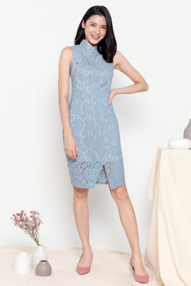 Althea Lace Cheongsam Dress (Blue)