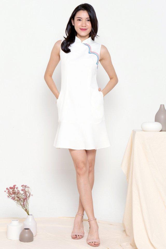 Rainbow Removable Collar Cheongsam Dress (White)