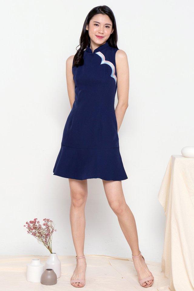 Rainbow Removable Collar Cheongsam Dress (Navy Blue)