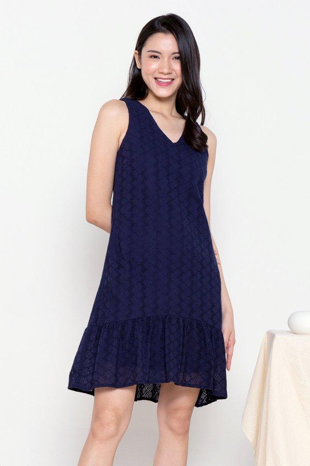 Dion Eyelet Hi-Low Skater Dress (Navy Blue)