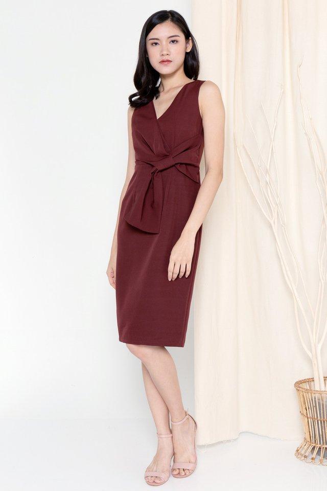 Riley Ribbon Waist Tie Work Dress (Wine)