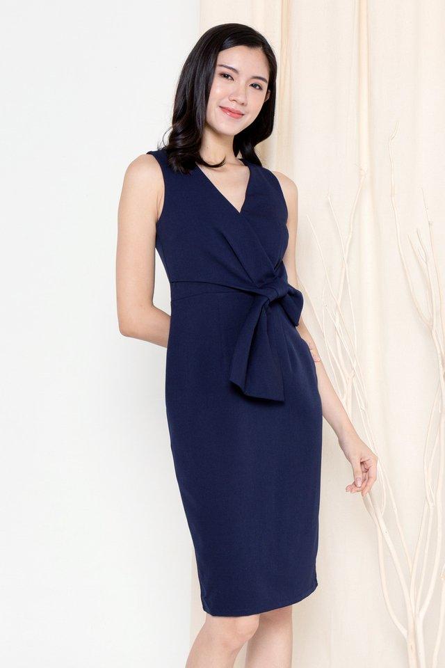 Riley Ribbon Waist Tie Work Dress (Navy Blue)