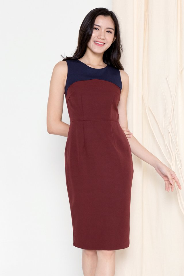 Pansy Colourblock Work Dress (Wine)