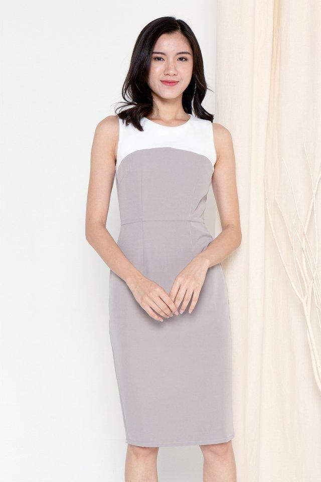 Pansy Colourblock Work Dress (Grey)