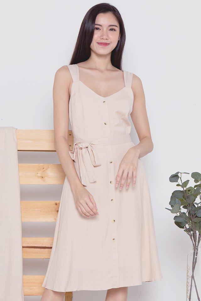 Alexia Linen Dress (Cream)