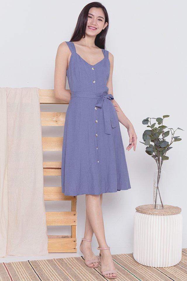 Alexia Linen Dress (Blue)